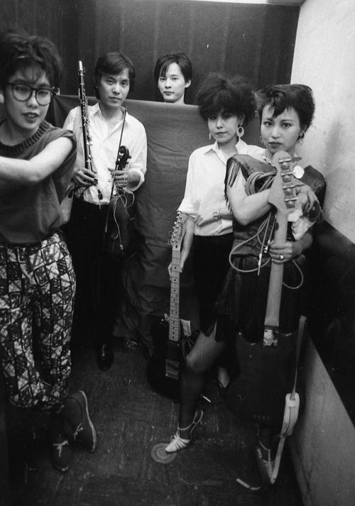 non band: Kummy, Kinosuke, Mitsuru Tamagaki, Mitsuwa, Non, unknown Tokyo live house, circa 1981